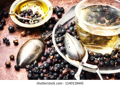 Healing, therapeutic tea from dried juniper berries