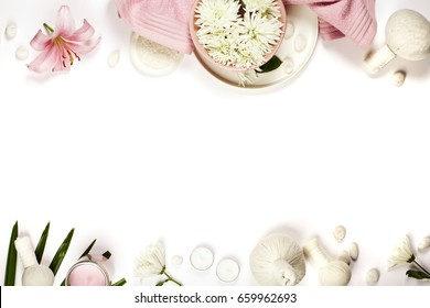 Health and beauty template with Natural spa products on white background