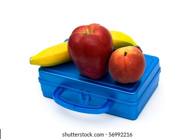 Health bunch of fruit on top of a lunchbox, Healthy School Lunch