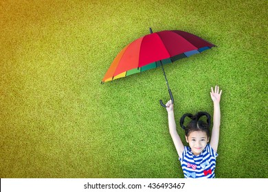 Health care assurance, family and children life insurance medical healthcare business concept with happy asian girl kid holding umbrella uv protection safety from sunlight ray on sunny day