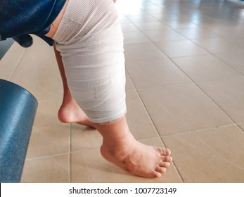 health care background man accident leg with bandage. image for hospital, healthy, danger, person, injury, first aid concept