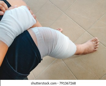 health care background man accident arm and leg with bandage. image for hospital, healthy, danger, person, injury, first aid concept