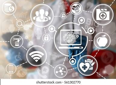 Health care computing iot integration modernization laptop brain medicine automation mobile computer control web development ideas concept. Brainstorm idea cogwheel medical emr technology