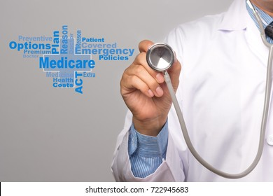 Health Care Concept. Doctor holding a stethoscope and medicare word on gray background.