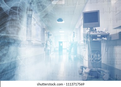Health care concept with ECG and x-ray image on the background of medical staff in the hospital corridor.