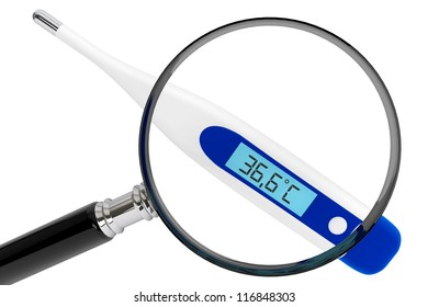 Health Care concept. Medical digital thermometer with magnifier on a white background