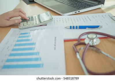 Health care costs concept picture : Hand of female doctor used a calculator for medical costs. Stethoscope and calculator on a medical chart ,symbol for health care costs or medical insurance.