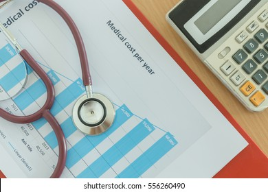 Health care costs concept picture : Stethoscope and calculator on a medical chart ,symbol for health care costs or medical insurance.