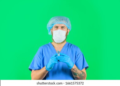 Health care in hospital. Liquid medication or drug. Vaccination. Doctor sprinkles from syringe to release air. Doctor holds syringe. Syringe with an injection solution. Syringe with vaccination.