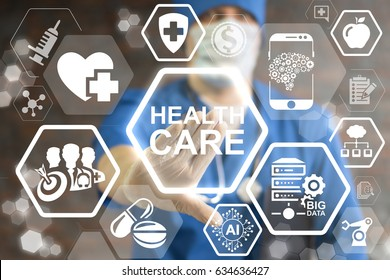 Health Care Innovative Technologies Integrate. Innovation medicine concept. Modern Healthcare innovate information technology integration. Doctor touched icon health care text on virtual screen.