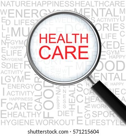 Health Care. Magnifying glass over seamless background with different association terms. Health Concept.