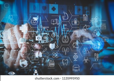 Health care and medical services concept with flat line AR interface.medical techonlogy concept,smart doctor hand working with modern laptop computer in modern office with virtual icon diagram