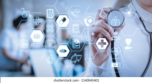 Health care and medical services concept with flat line AR interface.Healthcare and Medicine concept.smart medical doctor working with stethoscope at modern hospital