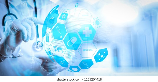 Health care and medical services concept with world or global form and AR interface.success smart medical doctor working with operating room as concept