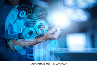 Health care and medical services concept with world or global form and AR interface.success smart medical doctor working with operating room