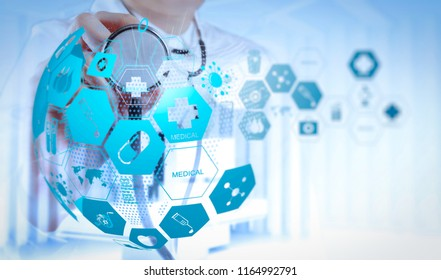Health care and medical services concept with world or global form and AR interface.Double exposure of smart medical doctor working with operating room as concept