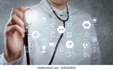 Health care and medical services concept with flat line AR interface.smart doctor and technology as medical concept
