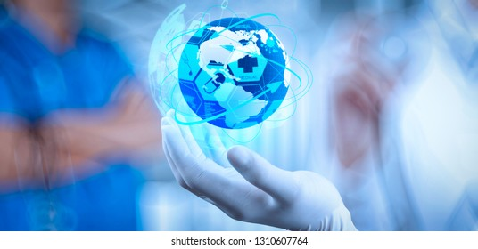 Health care and medical services concept with world or global form and AR interface.Medical Doctor holding a world globe in her hands as medical network concept