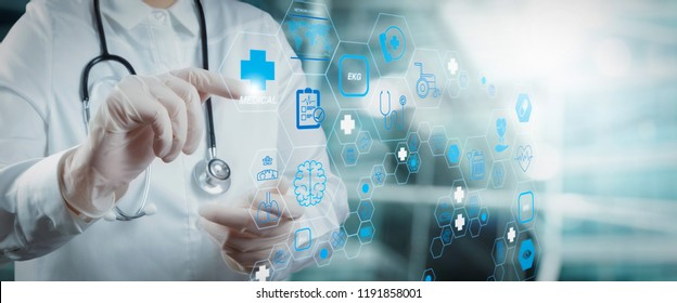 Health care and medical technology services concept with cinematography screen and AR interface.Smart medical doctor working with operating room as concept