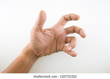 Health Care / Medical,Finger of seniors who have problems trigger fingers on a white background.