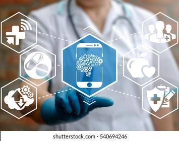 Health care medicine automation mobile control smart phone brain gear web development ideas iot concept. Brainstorm idea cogwheel medical modernization integration emr technology