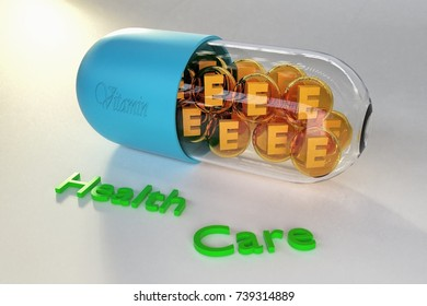 Health care and Nutritional Supplements Vitamin E or Tocopherol. Vitamin E Benefits is Helps Prevent Cancer and Help to dissolve blood clots and Alzheimer's & Dementia Prevention and Risk.(3d render)