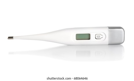 Health care objects, digital thermometer Isolated on white background (Path)