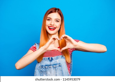 Health care people person denim clothes outfit funny t-shirt concept. Close up photo portrait of lovely sweet cute nice glad charming girl giving you her heart isolated bright vivid background