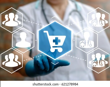 Health care pharmacy and web drugstore concept. Doctor presses shopping cart icon on virtual screen on background physicians, people. Pharmaceutical purchases. Buy medicines at the pharma store.