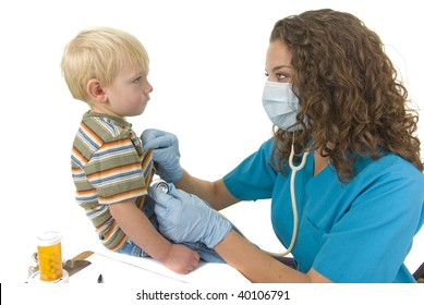 Health Care professional wearing gloves and mask checks toddlers breathing