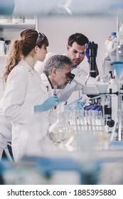 Forscher im Bereich der Gesundheitsfürsorge im Labor für Biowissenschaften. Junge Forscherinnen und Wissenschaftler sowie leitender Professor, der Mikroskop-Folien im Forschungslabor vorbereitet und analysiert.