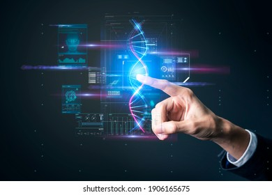 Health care science technology knowledge concept, finger touch pointing DNA genome tech symbol.