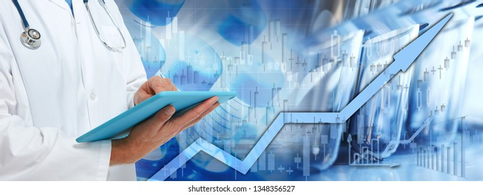 Health care stock market background
