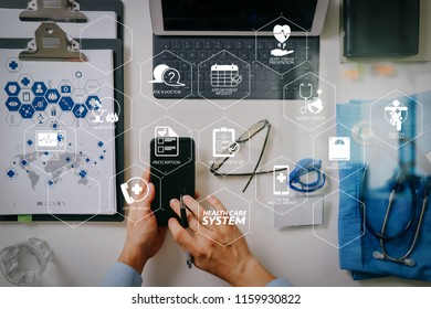 Health care system diagram with health check and symptom on VR dashboard.smart medical doctor working with mobile phone laptop computer and stethoscope.