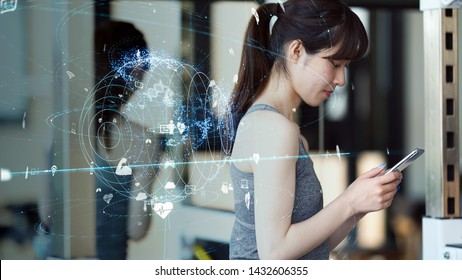 Health care technology concept. Asian girl using a smart phone.