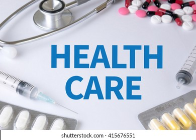 HEALTH CARE  Text, On Background of Medicaments Composition, Stethoscope, mix therapy drugs doctor flu antibiotic pharmacy medicine medical
