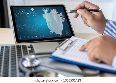 Health care writing prescription Doctor working modern virtual screen interface network