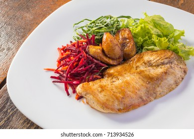Health chicken and salad plate