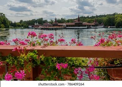 health complex on the termal  lake Heviz, Hungary