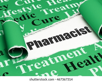 Health concept: black text Pharmacist under the curled piece of Green torn paper with  Tag Cloud, 3D rendering
