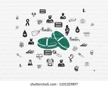 Health concept: Painted green Pills icon on White Brick wall background with  Hand Drawn Medicine Icons