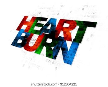 Health concept: Pixelated multicolor text Heartburn on Digital background