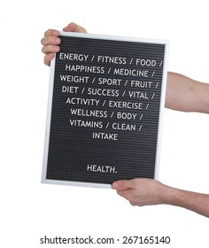 Health concept in plastic letters on very old menu board, vintage look