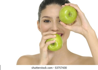 Health concepts- girl holding a green apple