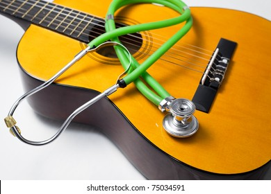 Health concepts. Music heal the damaged soul and make people happy.