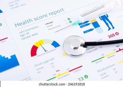 Health condition score report. Stethoscope on medical background.