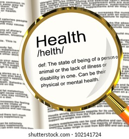 Health Definition Magnifier Shows Wellbeing Fit Condition Or Healthy