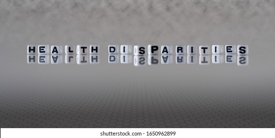 health disparities concept represented by black and white letter cubes on a grey horizon background stretching to infinity