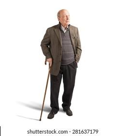Health elderly man walking with his stick