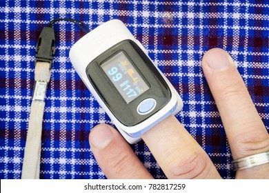 Health examination by oximeter while climbing Kilimanjaro, Tanzania